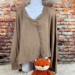 Free people cotton sleeved poncho brown size XS